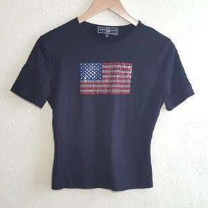 St John Sport by Marie Gray American Flag T-shirt